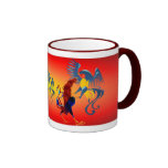 Two Colourful Fighting Roosters_Mugs Ringer Mug