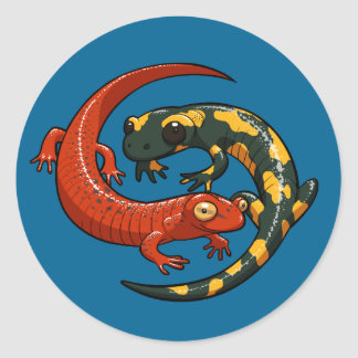 Two Colourful Smiling Salamanders Entwined Cartoon Classic Round Sticker