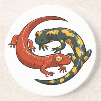 Two Colourful Smiling Salamanders Entwined Cartoon Coaster
