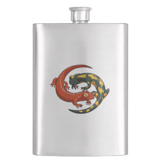 Two Colourful Smiling Salamanders Entwined Cartoon Hip Flask