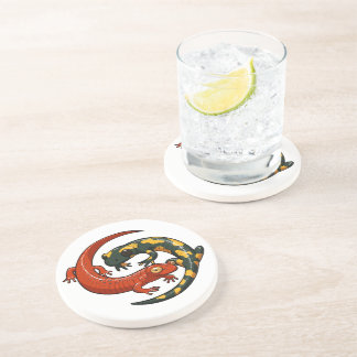Two Colourful Smiling Salamanders Entwined Cartoon Sandstone Coaster