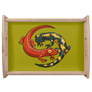 Two Colourful Smiling Salamanders Entwined Cartoon Serving Tray