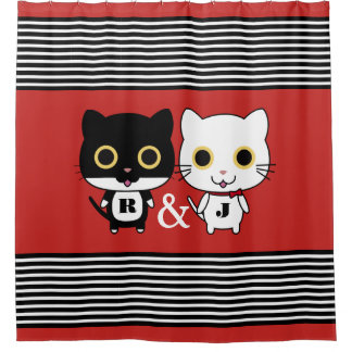 Two Cool Cats Personalized Shower Curtain