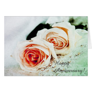 Two coral tender roses - happy anniversary card