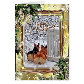Two Corgis in the Snow with Frame Card