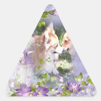 Two Corgis Meet Triangle Stickers