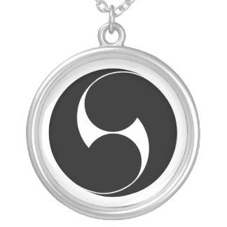Two counterclockwise swirls (Jinuki) Silver Plated Necklace