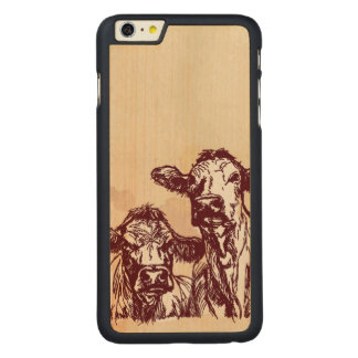 Two cows hand draw sketch & watercolor vintage carved maple iPhone 6 plus case
