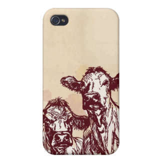 Two cows hand draw sketch & watercolor vintage case for iPhone 4