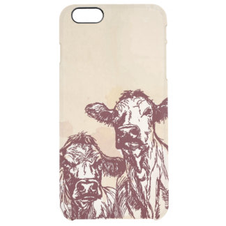 Two cows hand draw sketch & watercolor vintage clear iPhone 6 plus case