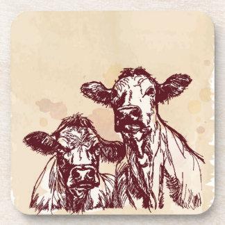 Two cows hand draw sketch & watercolor vintage coasters