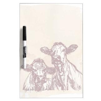 Two cows hand draw sketch & watercolor vintage dry erase board
