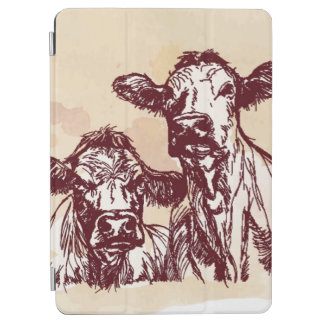 Two cows hand draw sketch & watercolor vintage iPad air cover