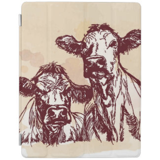 Two cows hand draw sketch & watercolor vintage iPad cover