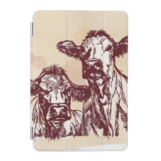 Two cows hand draw sketch & watercolor vintage iPad mini cover