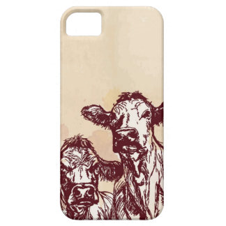 Two cows hand draw sketch & watercolor vintage iPhone 5 case