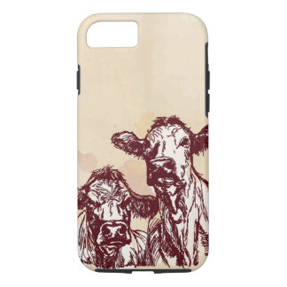 Two cows hand draw sketch & watercolor vintage iPhone 7 case