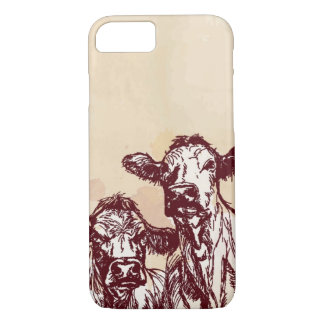 Two cows hand draw sketch & watercolor vintage iPhone 8/7 case