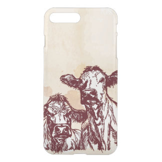 Two cows hand draw sketch & watercolor vintage iPhone 8 plus/7 plus case