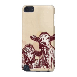 Two cows hand draw sketch & watercolor vintage iPod touch 5G covers