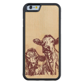 Two cows hand draw sketch & watercolor vintage maple iPhone 6 bumper case