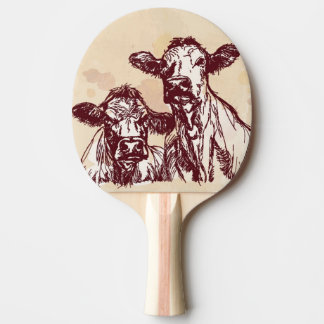 Two cows hand draw sketch & watercolor vintage ping pong paddle
