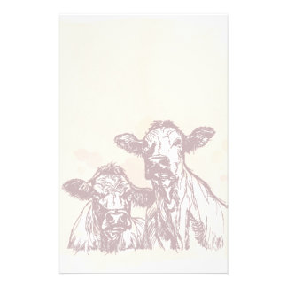 Two cows hand draw sketch & watercolor vintage stationery