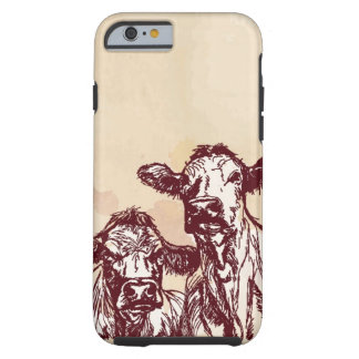 Two cows hand draw sketch & watercolor vintage tough iPhone 6 case