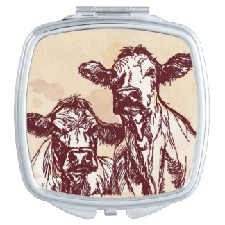 Two cows hand draw sketch & watercolor vintage travel mirror