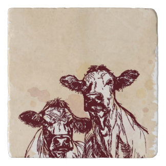 Two cows hand draw sketch & watercolor vintage trivet