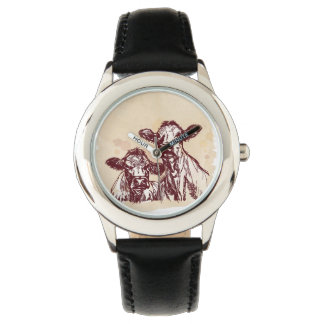 Two cows hand draw sketch & watercolor vintage watch