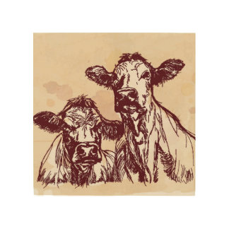 Two cows hand draw sketch & watercolor vintage wood print