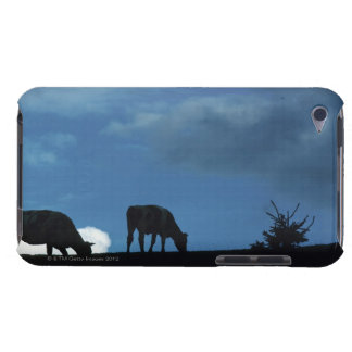Two cows in silhouette grazing on hillside iPod touch Case-Mate case