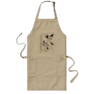 Two Cranes In Bamboo  Aprons
