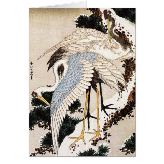 Two cranes on a pine covered with snow, Hiroshige Card