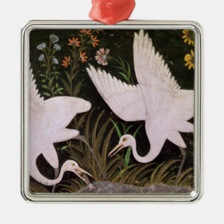 Two Cranes on the Edge of a Pond Silver-Colored Square Decoration
