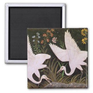 Two Cranes on the Edge of a Pond Square Magnet