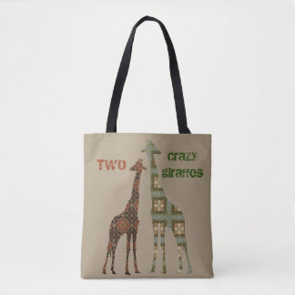 Two Crazy Looking Giraffes Tote Bag