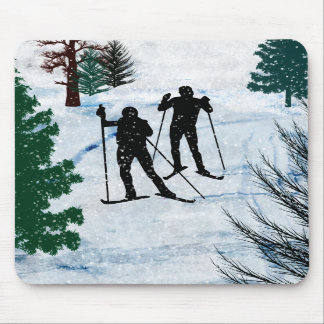 Two Cross Country Skiers Mousepads