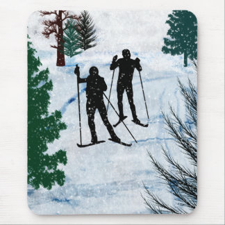 Two Cross Country Skiers Mouse Pad