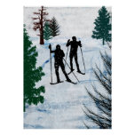 Two Cross Country Skiers Poster
