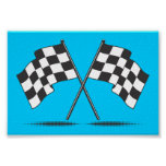 Two Crossed Checkered Flags Poster