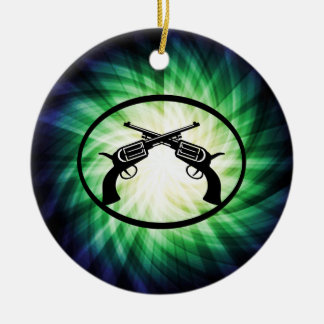 Two Crossed Pistols; Glowing Christmas Ornament