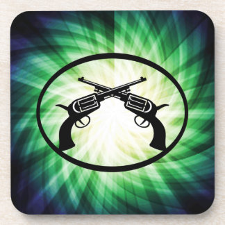 Two Crossed Pistols; Glowing Beverage Coaster