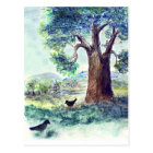 Two Crows on a Summer's Day - watercolor pencil Postcard
