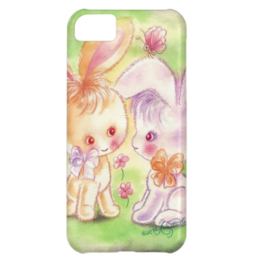 Two Cuddly Cute Purple & Orange Bunnies iPhone 5C Cover