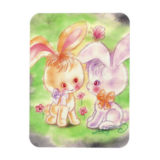 Two Cuddly Cute Purple & Orange Bunnies Magnets