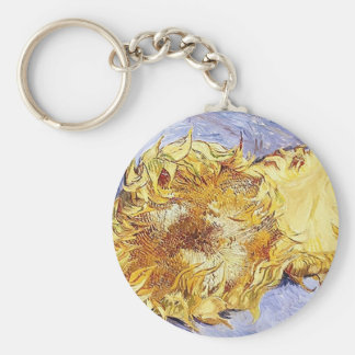 Two Cut Sunflowers~Vincent van Gogh ~ Fine Art Basic Round Button Key Ring