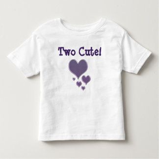 Two Cute! 2 Year Old's T-Shirt Lavender Hearts