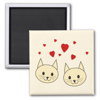 Two Cute Amber Color Cats with Red Hearts Magnets